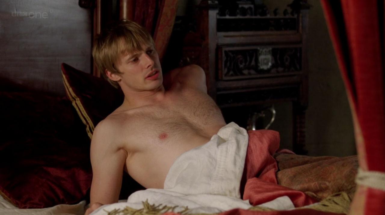 bradley james shirtless merlin