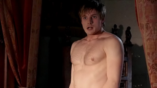 bradley james shirtless merlin